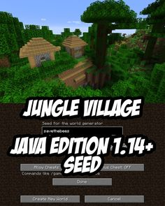 In this Minecraft seed (Java Edition) there is a jungle village (actually a savanna village which creeps into a jungle biome) right by game spawn.