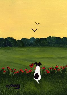 Smooth Fox Terrier dog art PRINT of Todd Young painting BUTTERFLY. $12.50, via Etsy.