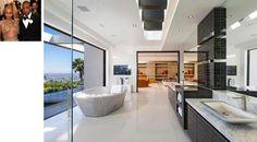 Extravagante, o banheiro de Beyoncé e Jay Z é amplo, com vista e possui banheira de pedra