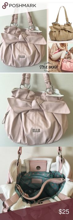 "ELLE Felicity Pleaded Pink 🎀 Big Bow Bag/Purse PreLoved in Great Conditions 🎀 Accessorize to impress carrying this ELLE shopper. This fashionable handbag features a bow accent, lending it feminine flair. 🎀Light Pink, Neutral color that goes with everything🎀 Silver-tone hardware PRODUCT DETAILS 13 1/2""H x 17""W x 8""D Drop down length: 11"" Magnetic snap closure Handles  Exterior: zip pocket Interior: center zip compartment, 2 slip pockets & zip pocket Faux leather ELLE Bags Shoulder Bags"