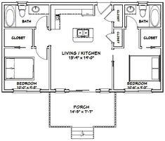 2 Bedroom Floor Plans, Small House Floor Plans, Cabin Floor Plans, 2 Bedroom Apartment Floor Plan, Tiny House 2 Bedroom, Small House Plans Under 1000 Sq Ft, Tiny Cottage Floor Plans, A Frame Floor Plans, 20x30 House Plans