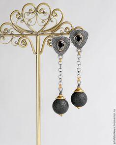 """Купить """"АФРИКА"""" серьги серебро, оникс, лава, серебряные украшения - серебряные серьги купить"""