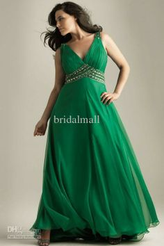 Wholesale Glamorous emerald green pleated beaded chiffon satin A-line plus-size evening prom dress N6368w, $53.07-66.54/Piece | DHgate