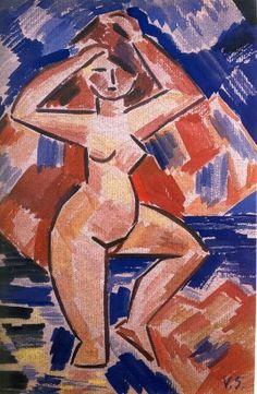 Václav Špála Žena stojící ve vodě 1928 Constructivism, Fauvism, New Art, Modern Art, Auction, Graphic Design, Illustration, Artist, Artwork