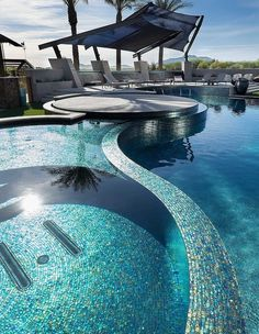 Sexy Curves are the showstopper in this Alpentile installation. Glass tile from Oceanside Glasstile. Pool design and build by Red Rock Pools Swimming Pool Tiles, Luxury Swimming Pools, Luxury Pools, Dream Pools, Swimming Pool Designs, Pool Spa, Outdoor Pool, Indoor Outdoor, Outdoor Living