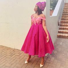 Latest South Sotho Shweshwe Styles Picture 2019 - Our Nail African Attire, African Wear, African Fashion Dresses, African Dress, African Style, African Traditional Wear, Traditional Fashion, Traditional Wedding, Sishweshwe Dresses