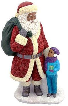 African American Santa with little boy (large) - resin figurine.
