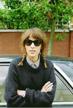 alexa chung, sunglasses, shirt, jumper, long bob, hair, plaits, style, fashion