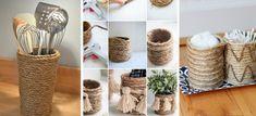 10 formas increíbles de transformar tus frascos usando mecate Clay Pots, Wicker Baskets, Crafts, Home Decor, Craft, Crafts With Bottles, Mason Jars, Decorated Boxes, Decorations