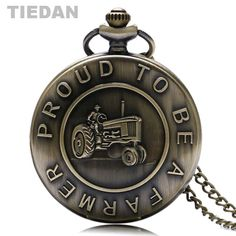 >> Click to Buy << TIEDAN BRAND Retro Quartz Pocket Watches PROUD TO BE A FARMER Design Bronze Vintage Antique Fob Watch with Necklace Unisex Gifts #Affiliate