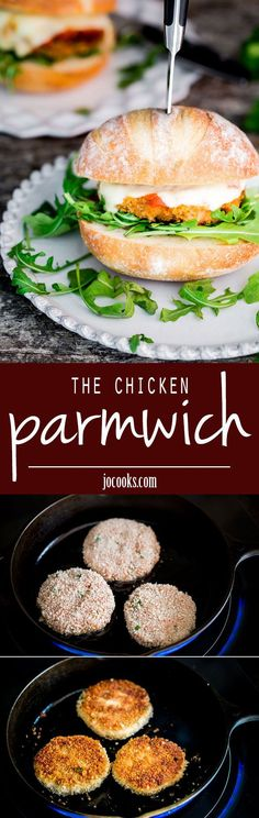 The Chicken Parmwich - These easy and flavorful sandwiches feature breaded ground chicken patties and are topped with marinara sauce and fresh mozzarella cheese.