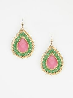 lovely pink and green teardrops...for the Lily Pulitzer wardrobe!