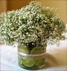 babies breath can make a chic and affordable centerpiece , even in the winter  months it resembles snow!
