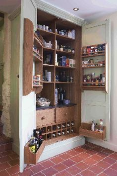 The modern alternative to the built-in larder is the larder cupboard, a cross between an ordinary kitchen cupboard and a separate storage room, constructed to fit into your kitchen alongside other units, and perhaps even integrating appliances such as a fridge, oven or coffee maker.