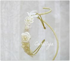 Beaded Lace Hair Piece - Bridal Headband White Flowers And Pearls, Creamy Lace Hairband