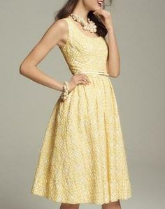 Ready for spring! Love this yellow and white fit and flare dress.