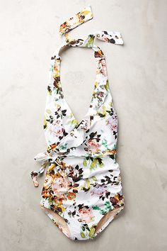 Ruffled Halter Maillot / anthropologie