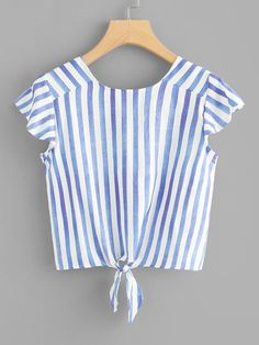 Shop Knot Hem Striped Crop Top at ROMWE, discover more fashion styles online. Cute Comfy Outfits, Pretty Outfits, Cool Outfits, Blouse Styles, Blouse Designs, Bras For Backless Dresses, Black Girl Fashion, Womens Fashion, Crop Top Outfits