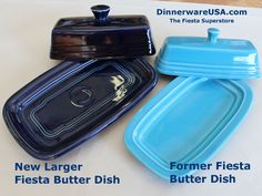 The new Fiesta butter dish is larger in length and width too. Plus there is added details to the dish. Found this pic on Facebook but site is http://dinnerwareusa.com