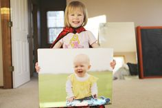Cute photo idea. 3, ect...b-day w/a pic of the year before or when they were a baby.
