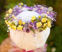For the flower girl . . .Stunning yellows and lavenders headband halo by greenearthstudio, $28.40