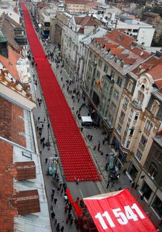 Sarajevo Red Line - 11,541 empty chairs representing the victims of the siege of Sarajevo