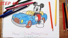 How to draw mickey mouse and his car?Mickey Mouse is very cute and famous Disney character. H ow painting a Mickey Mouse . Mickey Mouse Car, Mickey Mouse Drawings, Car Drawings, Step By Step Drawing, Disney Characters, Fictional Characters, Snoopy, Sketches, Cute