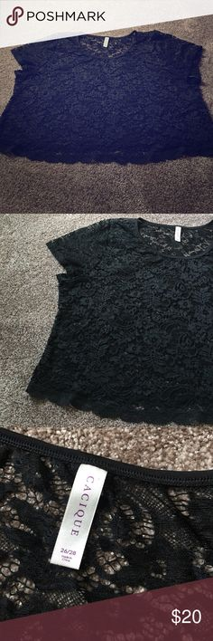 📌Final Price-Lace Crop Top Black Lace Crop top by Cacique for Lane Bryant.   Size 26/28, I believe this was a swim cover up but I wore it once as a top & didn't like the fit. My loss is your gain. Lane Bryant Tops Blouses