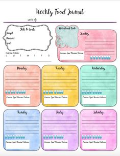 Find your perfect food journal for health and weight loss. Free Printable Food Journal: 6 different designs! Track food, water, exercise, & more. Design for your specific needs. Bullet Journal Tracker, Bullet Journals, Fitness Planner, Meal Planner, Planner Ideas, Happy Planner, Life Planner, Weekly Planner, Food Log