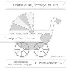 Pastel Grey  Extra Large Baby Carriage Cut Outs