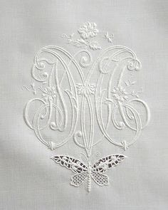Butterfly under triple monogramme-ems' White Work Embrodiery. Embroidery Designs, Embroidery Monogram, White Embroidery, Cross Stitch Embroidery, Hand Embroidery, Machine Embroidery, Monogram Design, Monogram Letters, Shabby