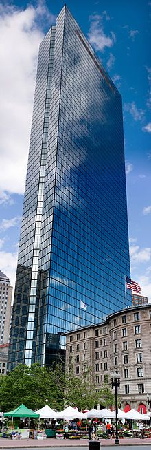Boston's John Hancock Tower Receives the 2011 AIA Twenty-Five Year Award Amazing Buildings, Amazing Architecture, City Buildings, John Hancock Tower, Copley Square, Boston Usa, City Living, Architect Design, New England