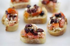 Simple Greek dish of bread topped with tomatoes, feta, and olives. It's delicious! European Cuisine, Greek Cooking, Greek Dishes, Party Finger Foods, Mediterranean Dishes, Easy Chicken Recipes, Chicken Meals, Greek Recipes, Bruschetta