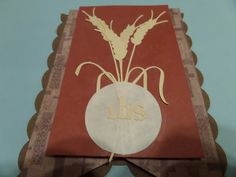 Wheat and Eucharist pennant for First Communion Banner. Using Cricut cartridges