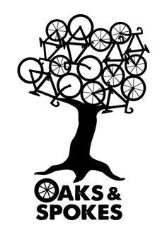 Cool logo #design. Oaks and Spokes is a Raleigh, NC @NB Festival    자전거 축제 로고  나무위에 자전거가 뒤엉켜 잇는 모습이   풍성한 나뭇잎을 연상 시킨다.