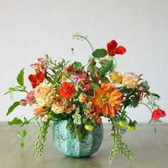 Colorful Centerpiece in an #anthrofave vessel