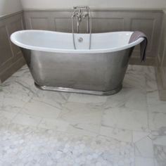 Marble Bathroom Floor Tiles With Silver Clawfoot Tub , Marble Bathroom Floor  Tiles In Bathroom Category