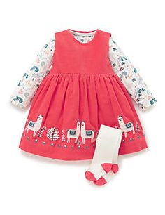 Marks and Spencer 3 Piece Cotton Rich Corduroy Pinafore Dress, Bodysuit & Tights Outfit