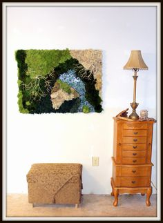 "Moss Wall Art-30""x40""-Real Moss Preserved-NO WATER needed-Mirrored water feature-Reindeer moss-Hang vertical or horizontal-Real cliff rock by teresab123 on Etsy"