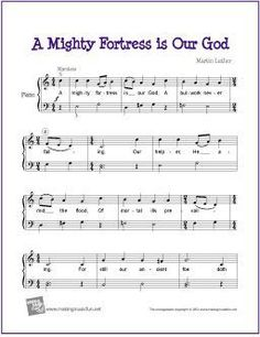 A Mighty Fortress is Our God - Free Easy Piano Sheet Music Free Printable Sheet Music, Free Sheet Music, Easy Piano Sheet Music, Piano Music, Music Sheets, Singing Lessons, Singing Tips, Christmas Sheet Music, Bible Songs