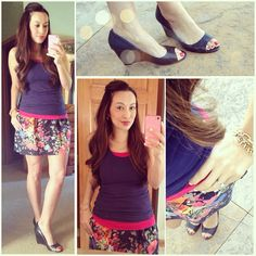 Target floral skirt & layered navy and hot pink tank tops, Nine West wedges