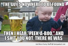 drunk baby meme kid drinking beer peek a boo guy funny pics pictures pic picture image photo images photos lol