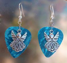 Angel Guitar Pick Earrings - Your Choice Color. $6.00, via Etsy.
