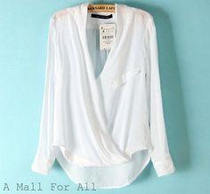 Zara Women Off White Wrap Cross Over Top Viscose Draped Blouse Shirt Surplice | eBay