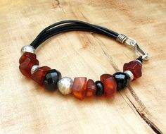 Genuine Baltic Amber Bracelet on Leather Cord  by BacaCaraJewelry, $125.00