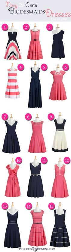 Navy & Coral Inexpensive Bridesmaids Dresses