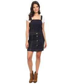 7 For All Mankind Pinafore Denim Dress in Clean Rinse