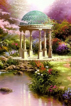 Beautiful Dream Garden ~ c.c~Our Secret Place Wallpaper For Iphone 4, Iphone 5 Wallpaper, Ipad Background, Background Images, Cute Backgrounds, Wallpaper Backgrounds, Thomas Kincaid, Beautiful Dream, Beautiful Places