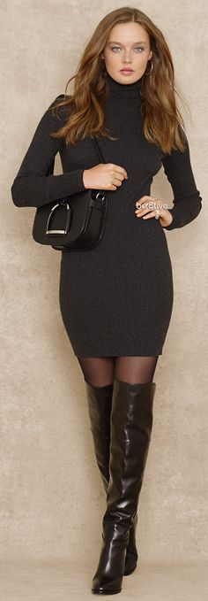 Turtleneck Sweater Dress - my ideal outfit! Looks Style, My Style, Bcbg, Dress Picture, Sexy Boots, Short Dresses, Dresses Dresses, Nylons, Men Dress