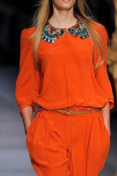 Etro at Milan Fashion Week Spring 2009 - Details Runway Photos Orange Shades, Coral, Turquoise, Orange Zest, Orange Crush, Milan, Runway, Palette, Blouses